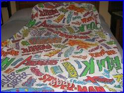 Vintage Marvel Comic Super Hero Avengers Logo 1994 Twin Sheet Set 3 piece Rare
