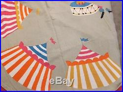 Vintage Mid Century Childrens Twin Bed Spread Cover Circus Clown Tent Elephant