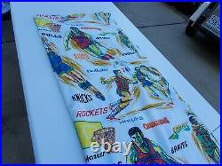 Vintage NBA Bed Sheet Basketball Team Bulls Bucks Hawks ABA 96x79 1970's