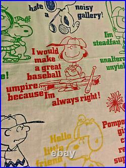 Vintage PEANUTS Snoopy Charlie Brown Sports Muslin Twin Flat Sheet 50/50 Fabric