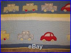 Vintage Pottery Barn Kids Cars Transportation Twin Quilt/Comforter/Blanket