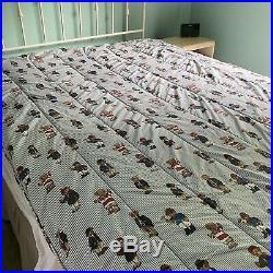 Vintage Ralph Lauren Polo Bear Comforter Blue Stripe Twin Size Bedding Boys USA