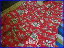 Vintage Western Cowboy Red Comforter Horses Joe Boxer 92 x 100 inches