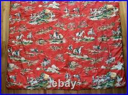 Vintage Western Cowboy Red Twin Comforter Horses Joe Boxer 64x87 Blanket Paint