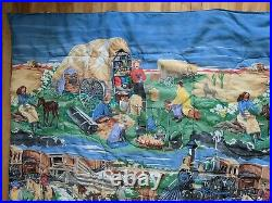 Vintage Western Cowboy Rodeo Twin Comforter Horses 64x89 Blanket Paint by Number