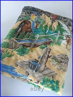 Vintage Western Cowboy Rodeo Twin Comforter Horses Blanket Paint by Number 64x89