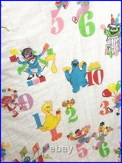 Vtg 1980's Sesame Street Numbers Twin Comforter Blanket Big Bird Cookie Monster