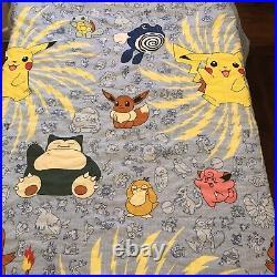 Vtg 90s Pokemon TWIN Bedding Set 1998 Nintendo Comforter Blanket Flat Sheet Pil