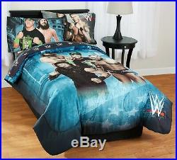WWE Pro Wrestling Boys Twin Bed Set Kids 4 Piece Comforter Sheets (2-DayShip)