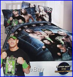 WWE Strength Wrestling Boys Twin Single Comforter & Sheets, 4 Piece Bedding, NEW